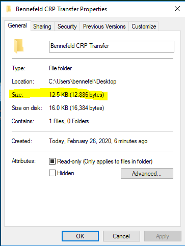 Bennefeld CRP Transfer Properties window on the General tab shows folder size: 12.5KB (12.886bytes) as the third item down on the list.