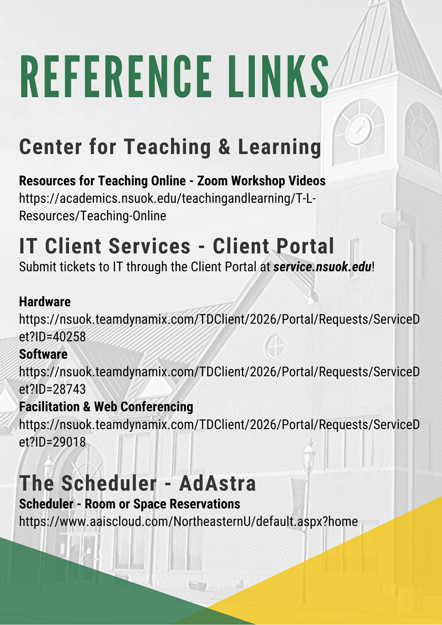 Reference links Center for Teaching & Learning Resources for Teaching Online - Zoom Workshop Videos https://academics.nsuok.edu/teachingandlearning/T-L-Resources/Teaching-Online IT Client Services - Client Portal Submit tickets to IT through the Client Portal at service.nsuok.edu!  Hardware  https://nsuok.teamdynamix.com/TDClient/2026/Portal/Requests/ServiceDet?ID=40258 Software https://nsuok.teamdynamix.com/TDClient/2026/Portal/Requests/ServiceDet?ID=28743 Facilitation & Web Conferencing https://nsuok.teamdynamix.com/TDClient/2026/Portal/Requests/ServiceDet?ID=29018 The Scheduler - AdAstra Scheduler - Room or Space Reservations https://www.aaiscloud.com/NortheasternU/default.aspx?home