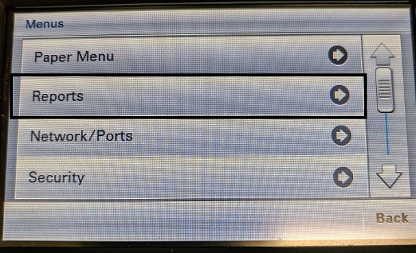 Picture showing lab printers menu list. Reports is highlighted.