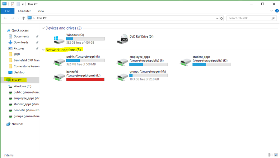 Explorer showing the network drives.