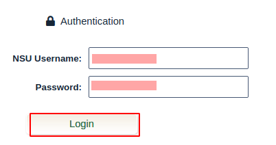 Enter NSU user ID and password, then click login