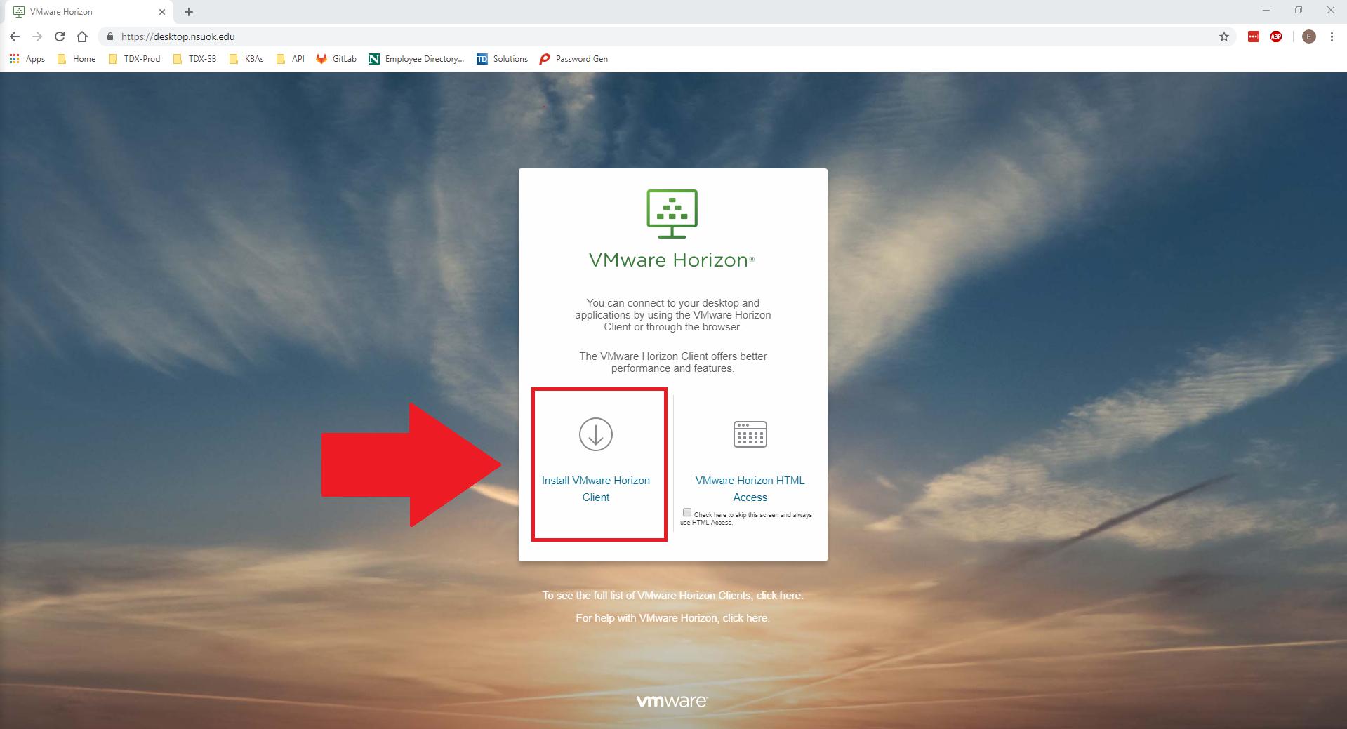 Install VMWare Horizon Client