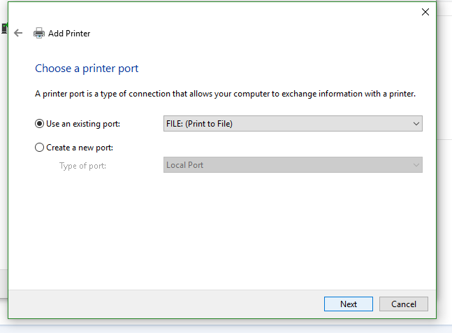 A picture showing the add printer page. choose a printer port is listed and the options listed are, Use an existing port and create a new port.