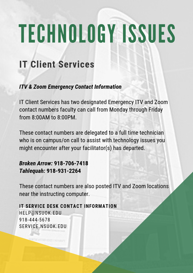 Technology Issues - ITV & Zoom Emergency Contact Information