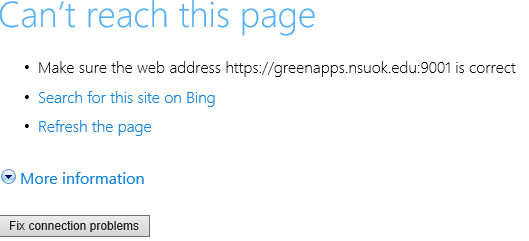 Can't reach this page error in IE when trying to get to Banner INB