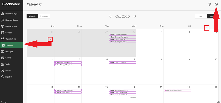 Screenshot showing the Calendar and Settings button locations