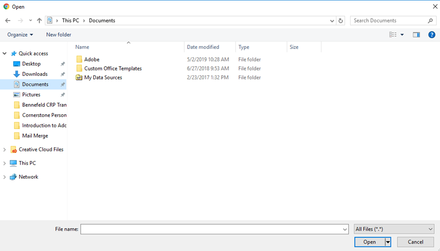 A picture showing the File Explorer window