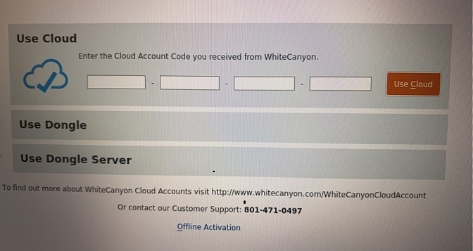 Cloud activation screen where you will input the activation code