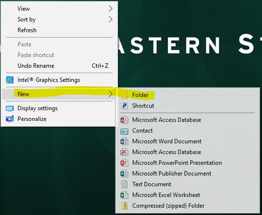 Options window to create a New Folder