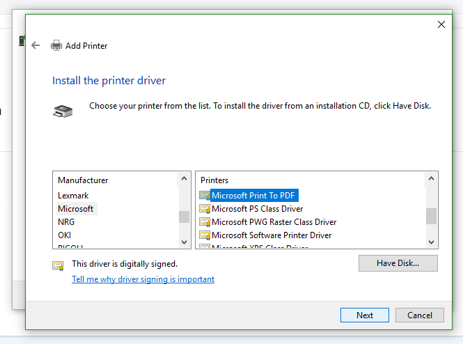 Picture of add printer page showing a long list of options for installing printer drivers.