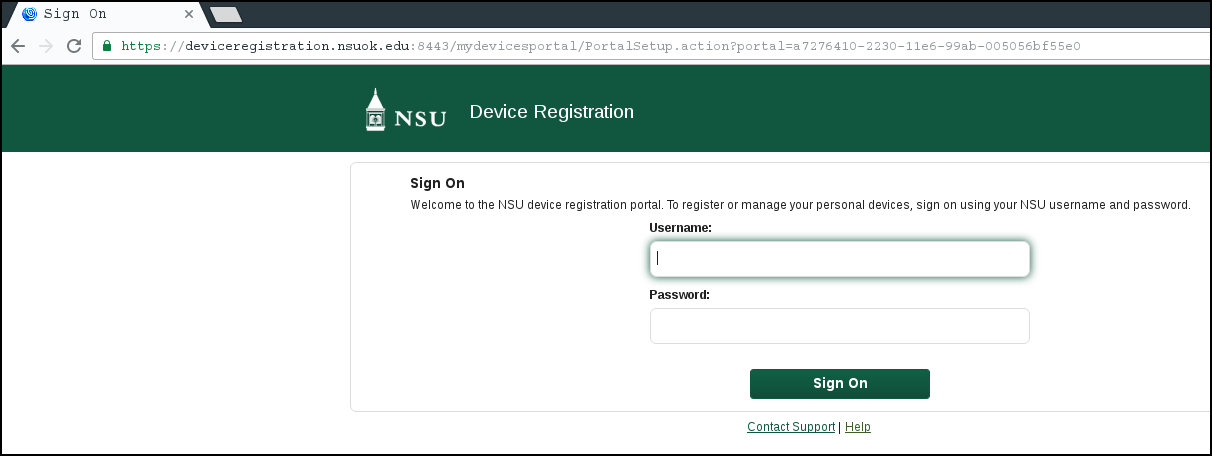 A picture showing the device registration page