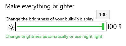Image showing the brightness settings page