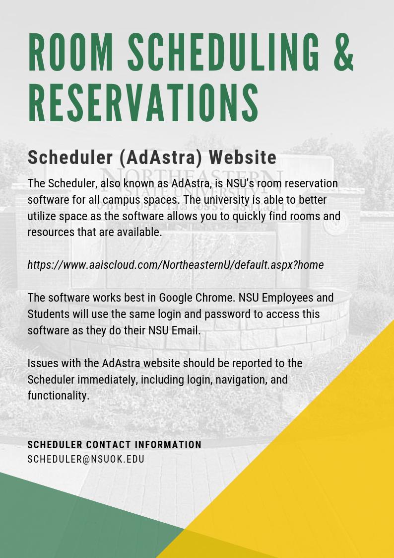 Room Scheduling & Reservations - Scheduler AdAstra Website