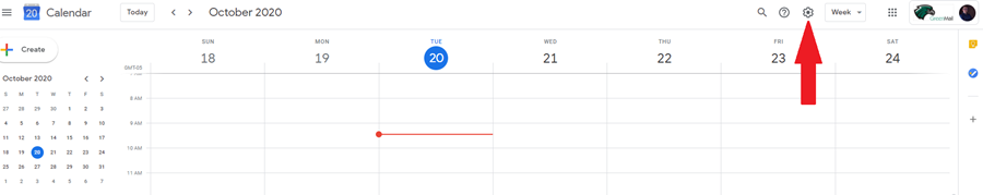 screenshot of gear icon on google calendar page