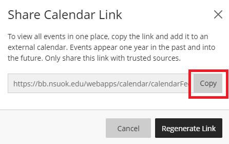 screenshot of copy link window