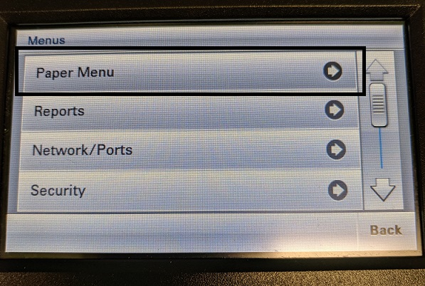 Picture showing the menus list for lab printer. Paper Menu is highlighted.