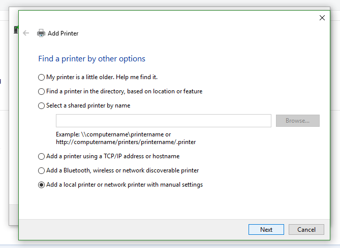 Add printer page with Add local printer or network printer option