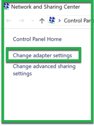 Select Change adapter settings on right panel