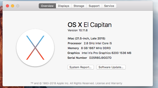 Picture showing a MacOS overview page