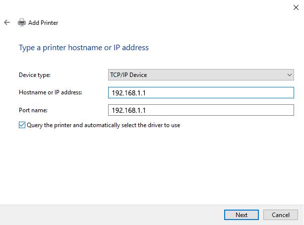 Adding a Network Printer via TCPIP - Screenshot (5a)