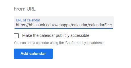 screenshot of google calendar url field