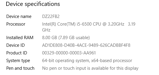 Picture showing a windows 10 device specifications screen.