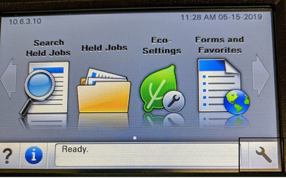 Picture showing the lab printers home screen