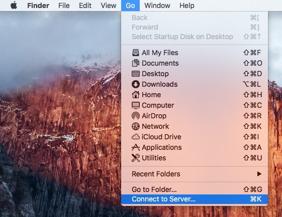 Picture showing the top header of MacOS main screen. GO option is listed with drop down box. Connect to server is highlighted.