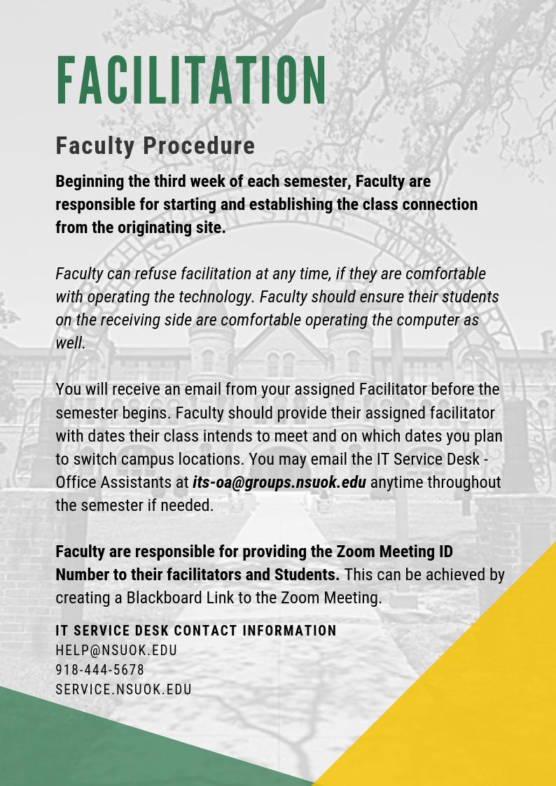 Facilitation - Faculty Procedure