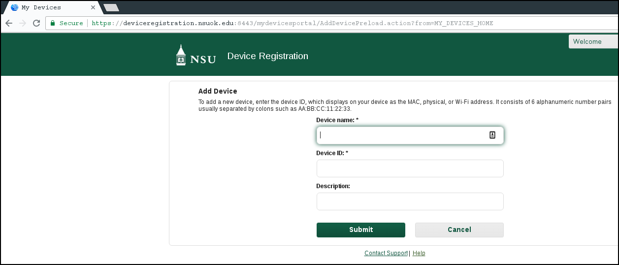 A picture showing the device registration page.